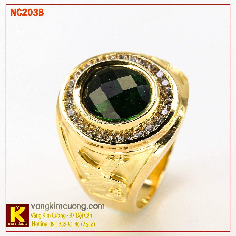 Nhẫn nam đá quý Emerald phong thủy 16k NC2038