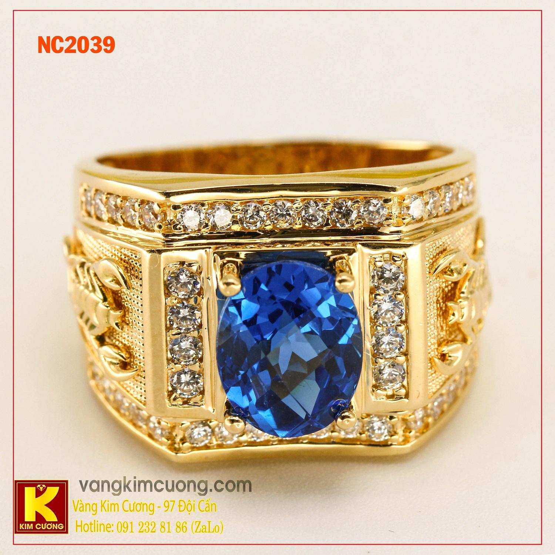 Nhẫn nam đá quý Topaz phong thủy 16k NC2039
