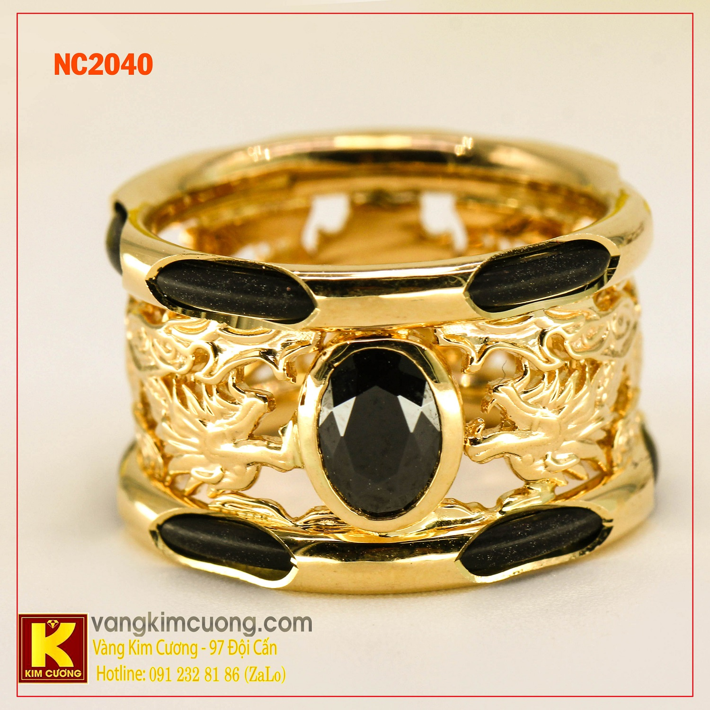 Nhẫn nam đá quý Sapphire phong thủy 16k NC2040