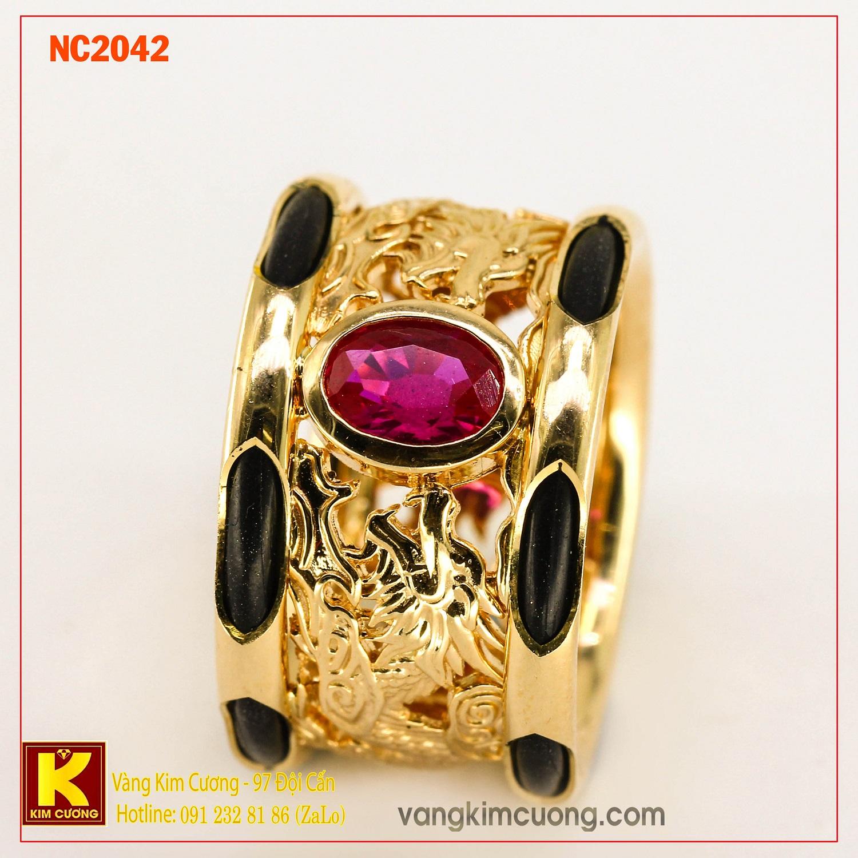 Nhẫn nam đá quý ruby phong thủy 16k NC2042