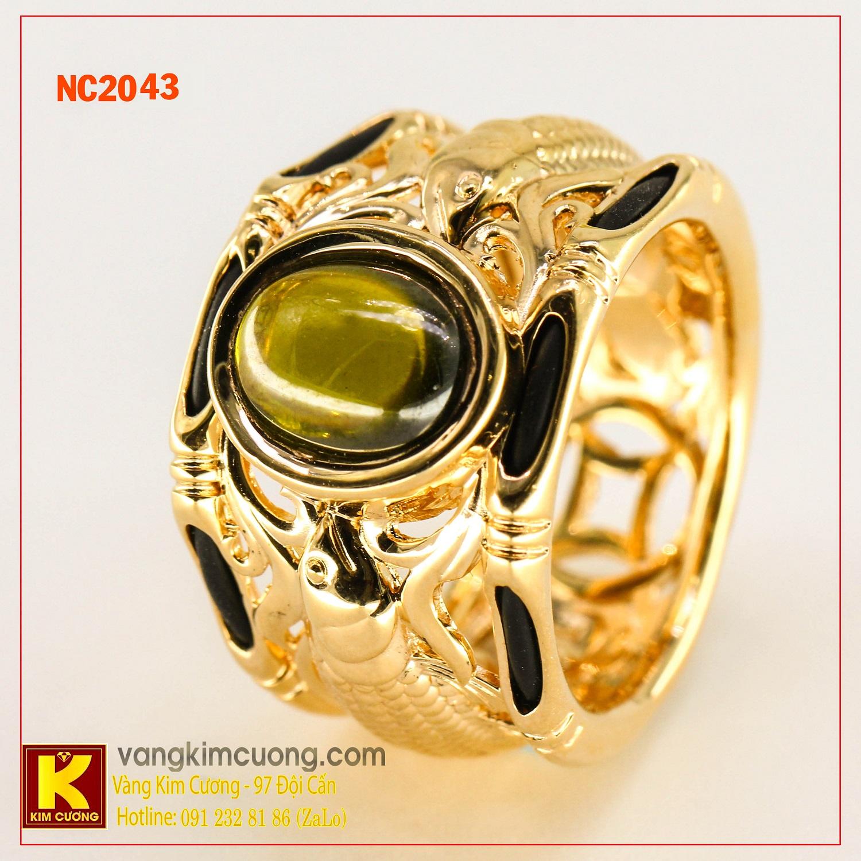 Nhẫn nam đá quý Peridot phong thủy 16k NC2043