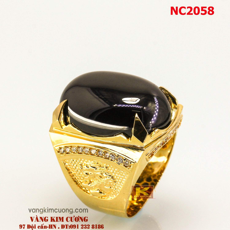 Nhẫn nam đá quý Sapphire phong thủy 16k 3D NC2058