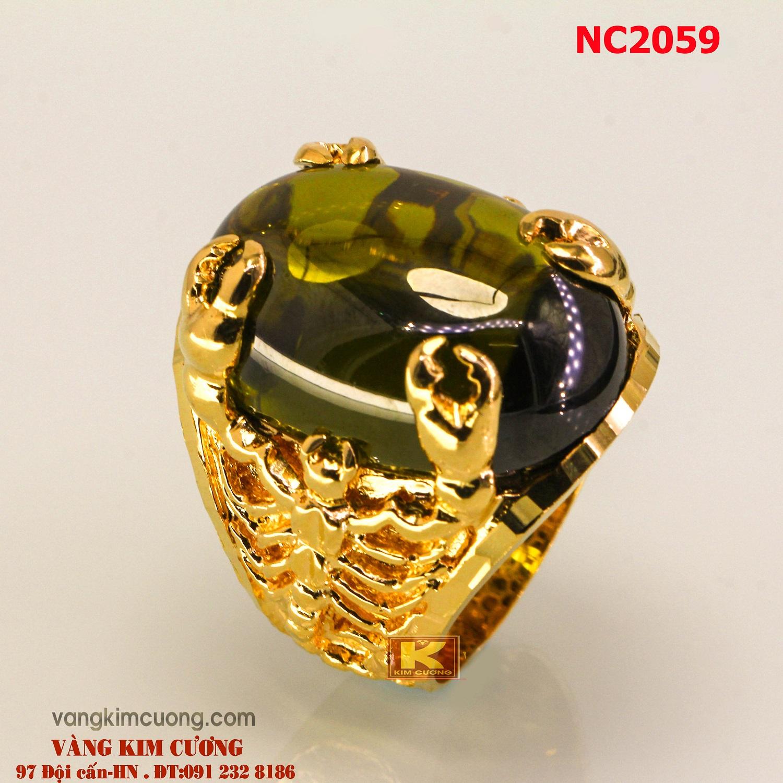 Nhẫn nam đá quý Peridot phong thủy 16k 3D NC2059