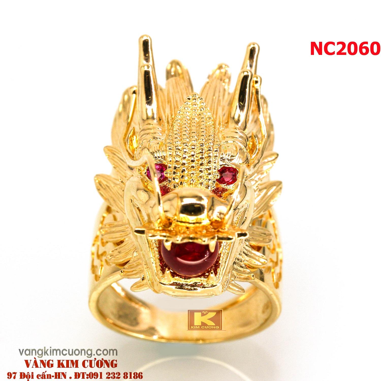 Nhẫn nam đá quý ruby phong thủy 16k 3D NC2060