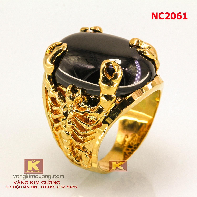 Nhẫn nam đá quý Sapphire phong thủy 16k 3D NC2061