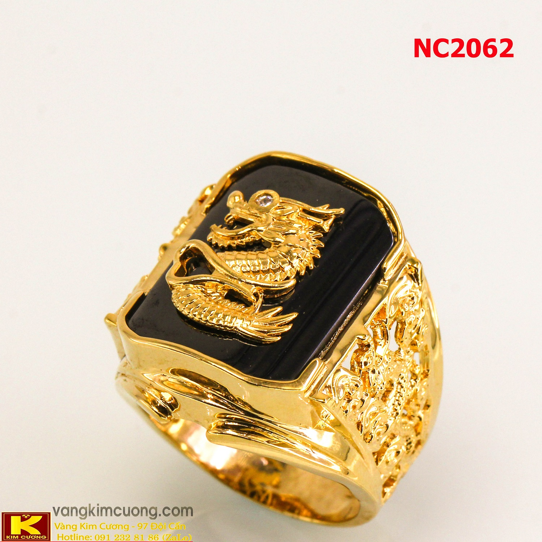 Nhẫn nam đá quý Sapphire phong thủy 16k 3D NC2062