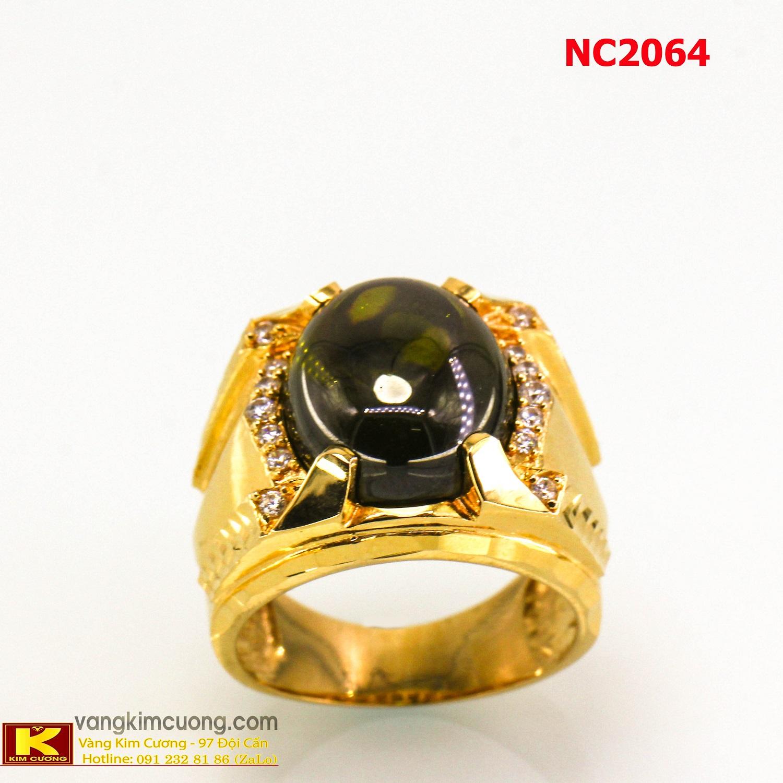 Nhẫn nam đá quý Sapphire phong thủy 16k 3D NC2064