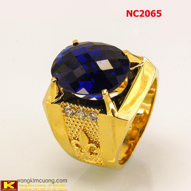 Nhẫn nam đá quý Topaz phong thủy 16k 3D NC2065