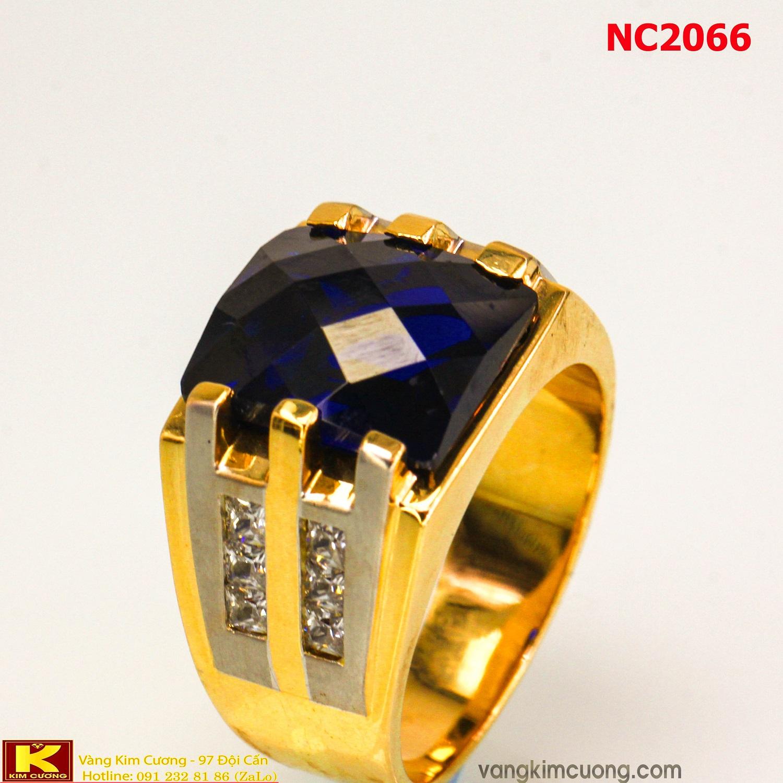 Nhẫn nam đá quý Topaz phong thủy 16k 3D NC2066