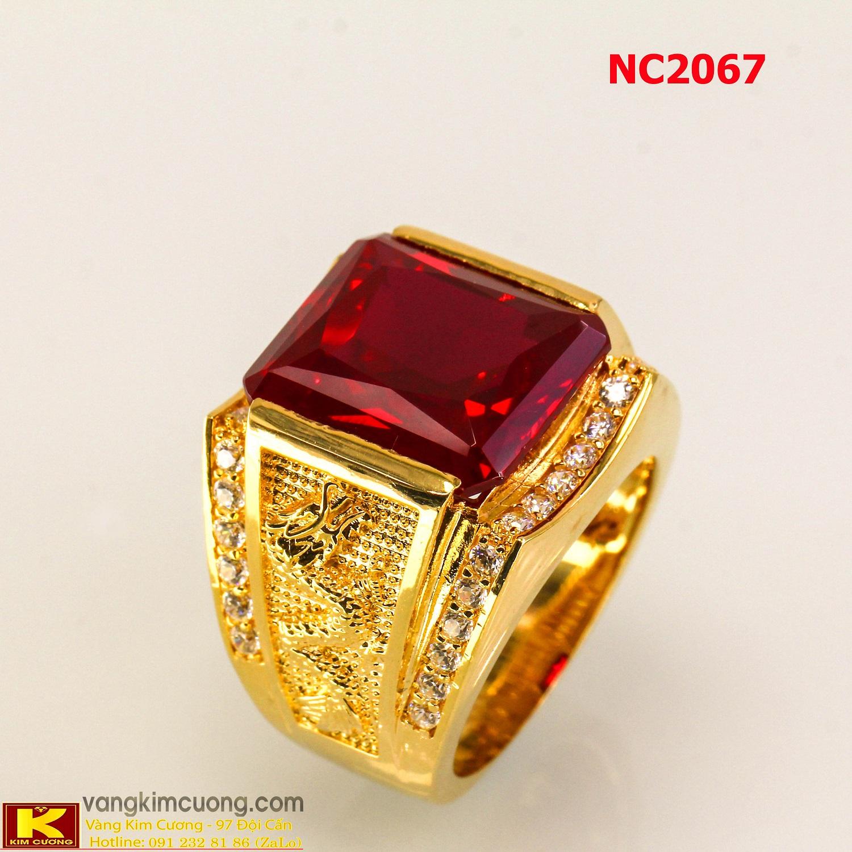 Nhẫn nam đá quý ruby phong thủy 16k 3D NC2067