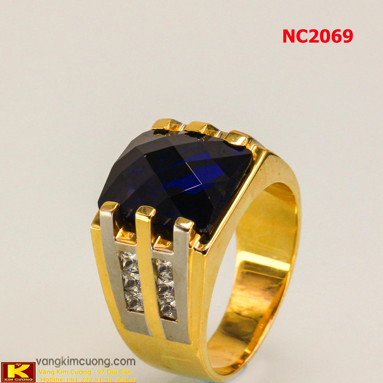 Nhẫn nam đá quý Topaz phong thủy 16k 3D NC2069