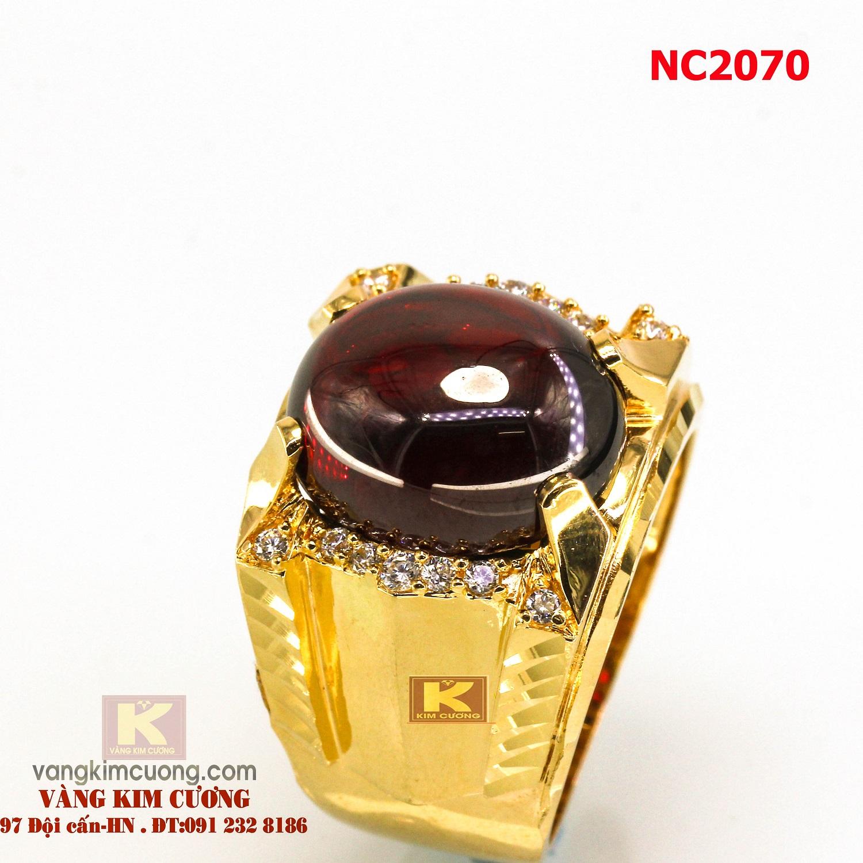 Nhẫn nam đá quý Garnet phong thủy 16k 3D NC2070