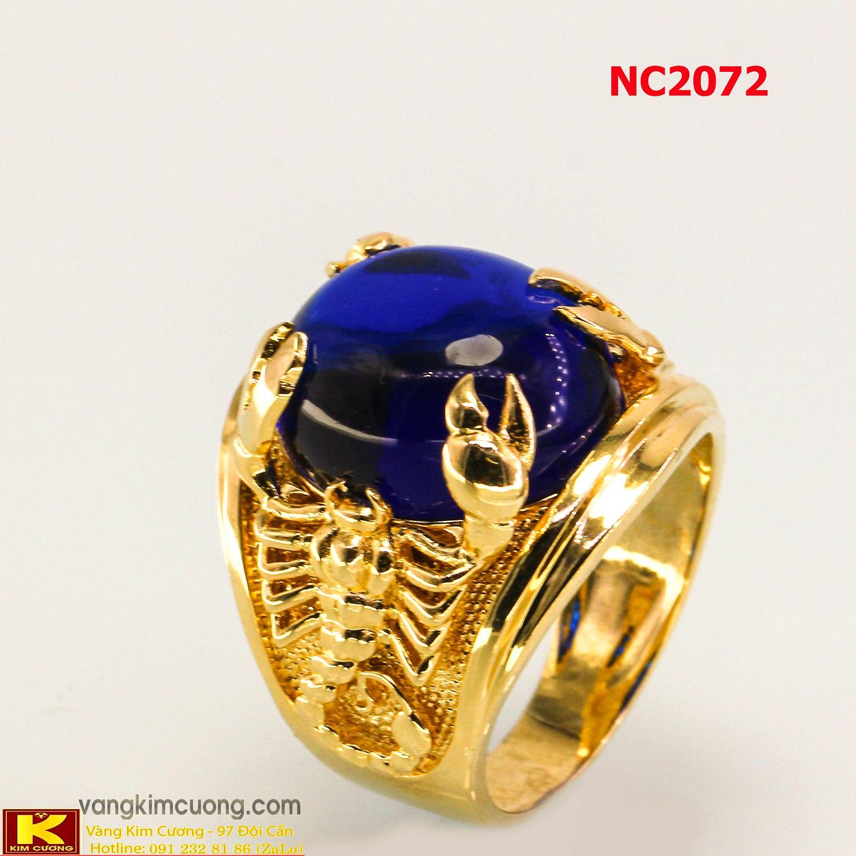 Nhẫn nam đá quý Topaz phong thủy 16k 3D NC2072