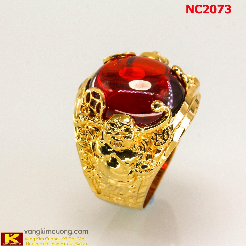 Nhẫn nam đá quý Ruby phong thủy 16k 3D NC2073