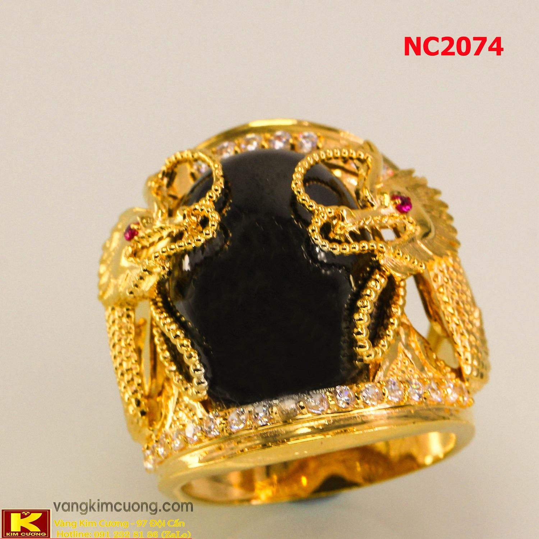 Nhẫn nam đá quý Sapphire phong thủy 16k 3D NC2074