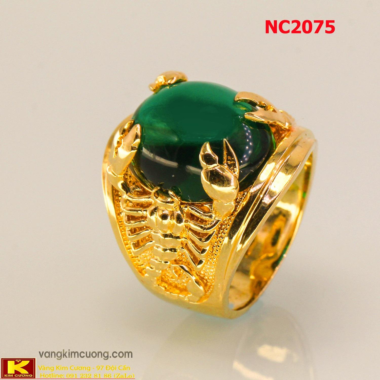 Nhẫn nam đá quý Emerald phong thủy 16k 3D NC2075