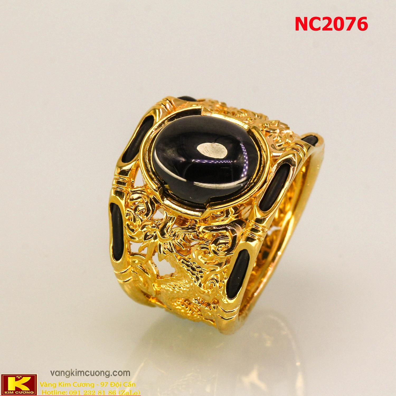 Nhẫn nam đá quý Sapphire phong thủy 16k 3D NC2076