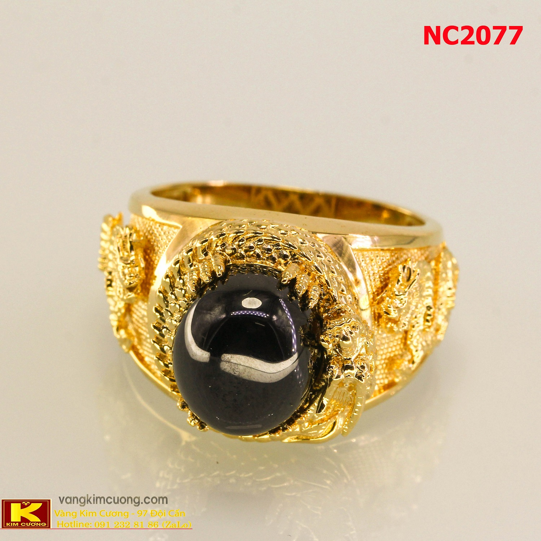 Nhẫn nam đá quý Sapphire phong thủy 16k 3D NC2077