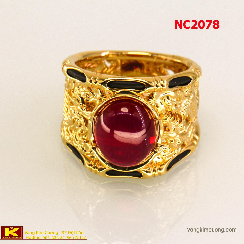 Nhẫn nam đá quý ruby phong thủy 16k 3D NC2078