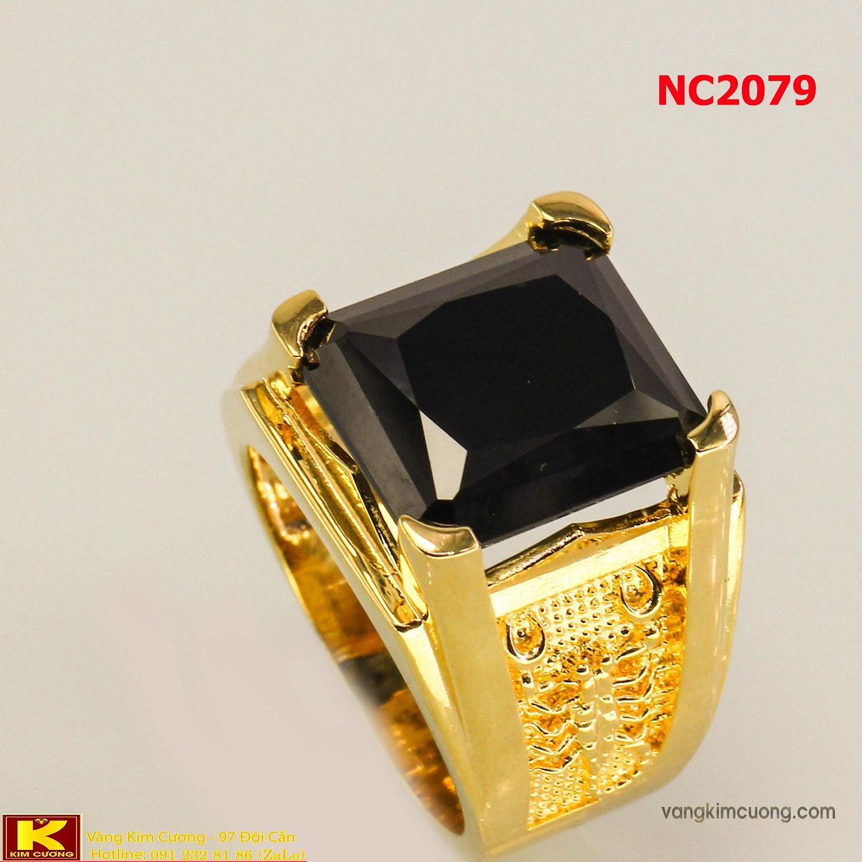 Nhẫn nam đá quý Sapphire phong thủy 16k 3D NC2079