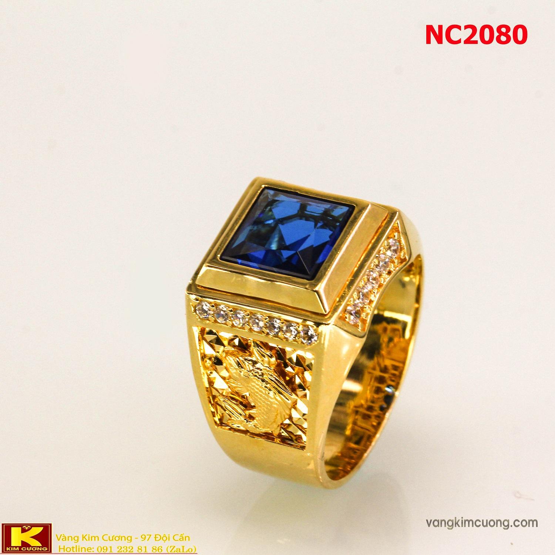 Nhẫn nam đá quý Topaz phong thủy 16k 3D NC2080