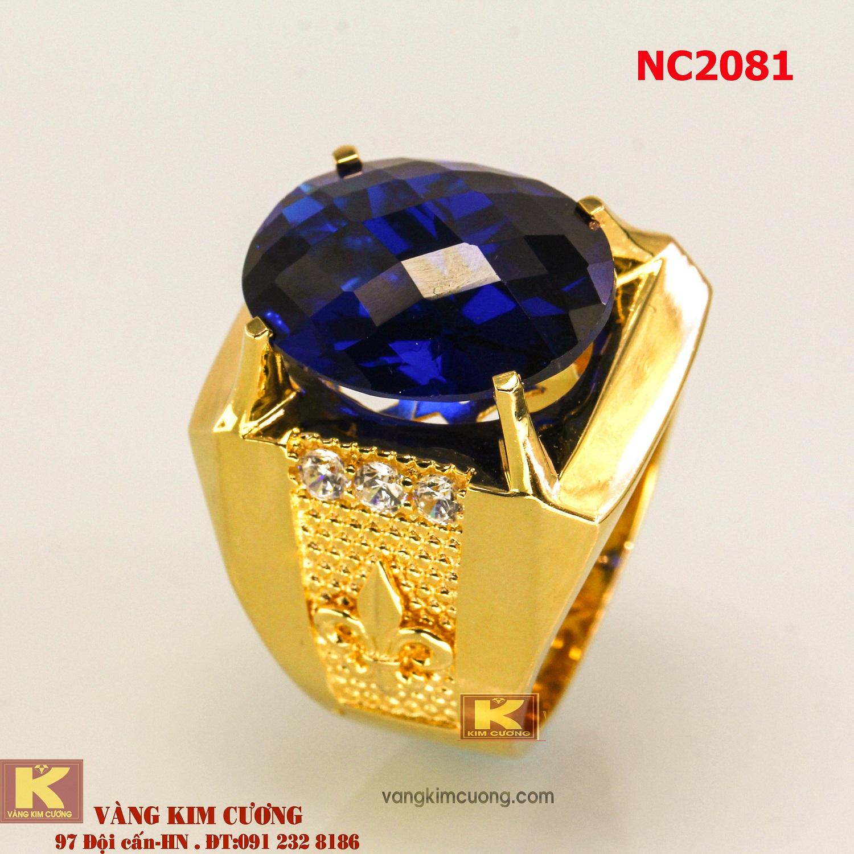 Nhẫn nam đá quý Topaz phong thủy 16k 3D NC2081