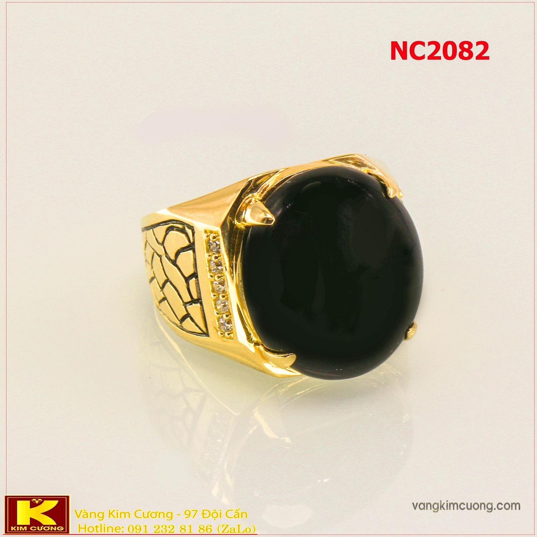 Nhẫn nam đá quý Sapphire phong thủy 16k 3D NC2082