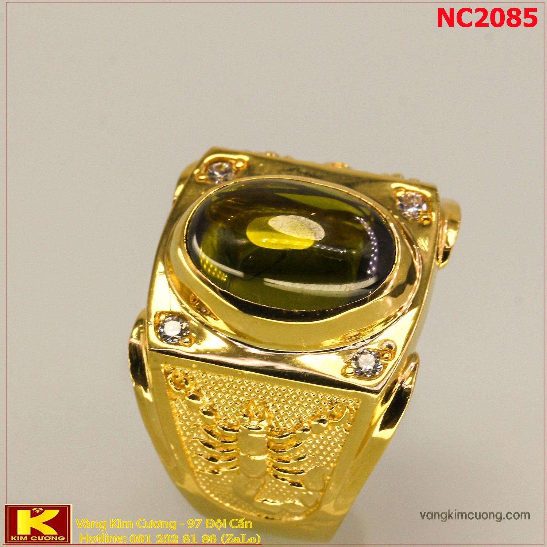 Nhẫn nam đá quý Sapphire phong thủy 16k 3D NC2085