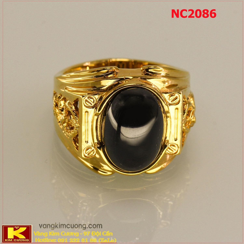 Nhẫn nam đá quý Sapphire phong thủy 16k 3D NC2086