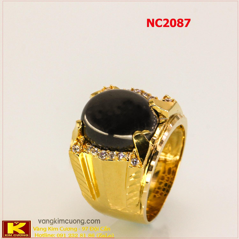 Nhẫn nam đá quý Sapphire phong thủy 16k 3D NC2087