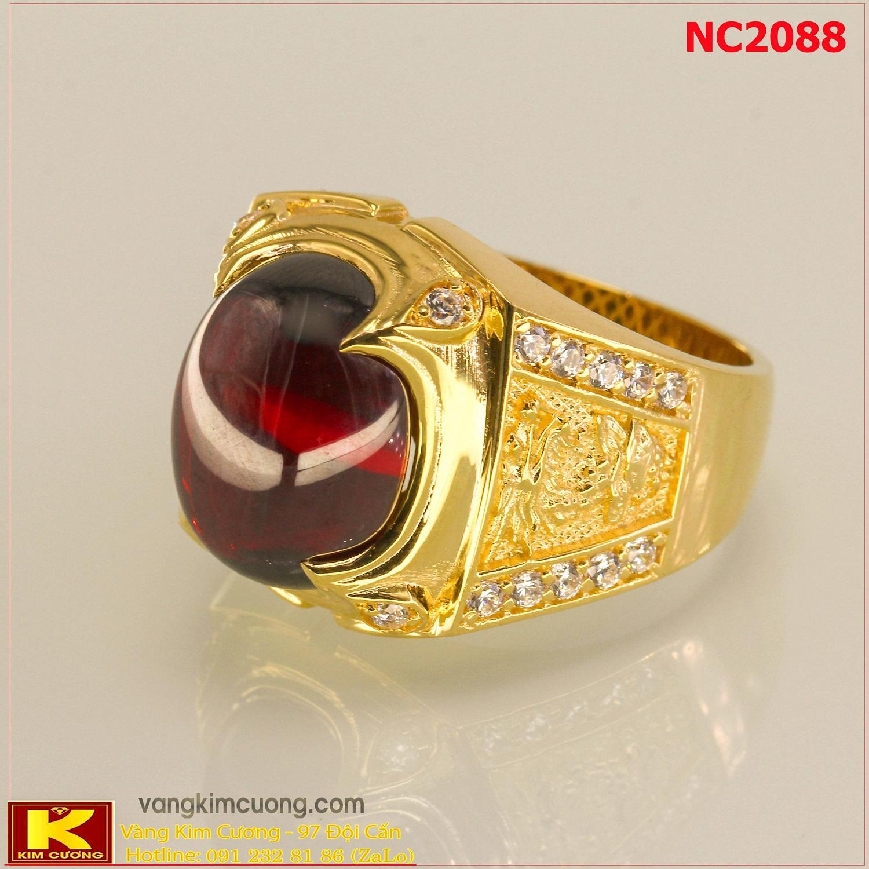 Nhẫn nam đá quý Garnet phong thủy 16k 3D NC2088