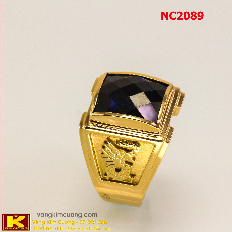 Nhẫn nam đá quý Sapphire phong thủy 16k 3D NC2089