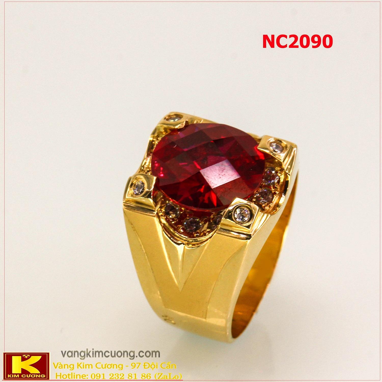 Nhẫn nam đá quý ruby phong thủy 16k 3D NC2090