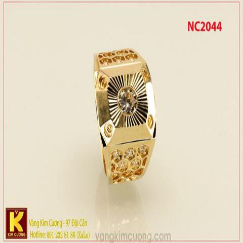 Nhẫn nam ổ kim cương nhân tạo 16k 3D NC2044