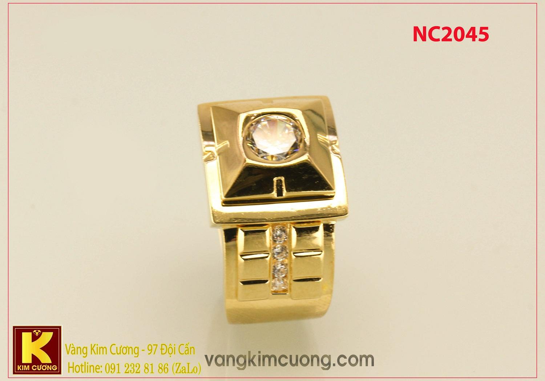 Nhẫn nam ổ kim cương nhân tạo 16k 3D NC2045
