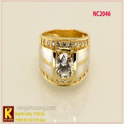 Nhẫn nam ổ kim cương nhân tạo 16k 3D NC2046