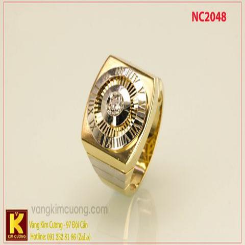 Nhẫn nam ổ kim cương nhân tạo 16k 3D NC2048