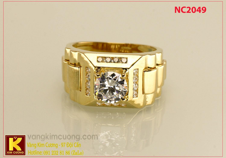 Nhẫn nam ổ kim cương nhân tạo NC2049