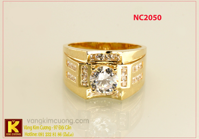 Nhẫn nam ổ kim cương nhân tạo 16k 3D NC2050