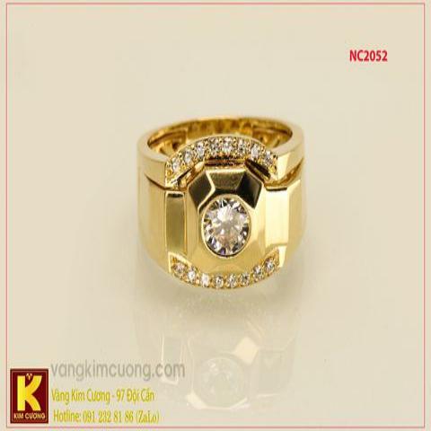 Nhẫn nam ổ kim cương nhân tạo 16k 3D NC2052
