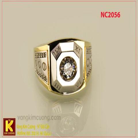 Nhẫn nam ổ kim cương nhân tạo 16k 3D NC2056