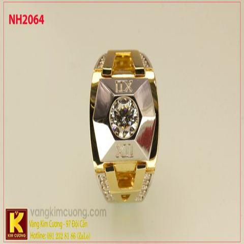Nhẫn nam ổ kim cương nhân tạo 10k korea NH2064