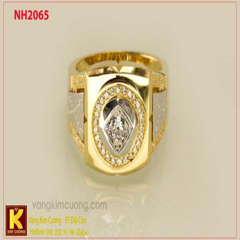 Nhẫn nam ổ kim cương nhân tạo 10k korea NH2065