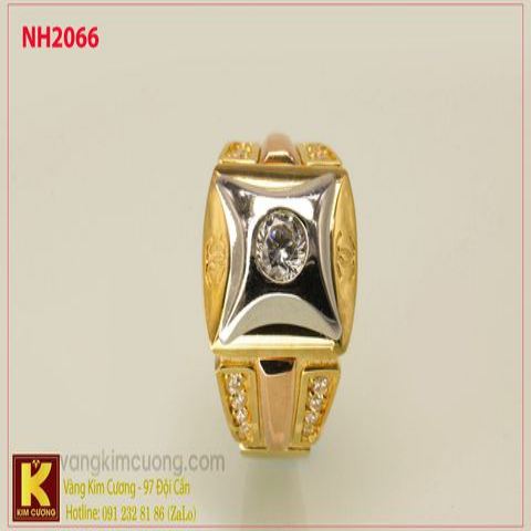 Nhẫn nam ổ kim cương nhân tạo 10k korea NH2066