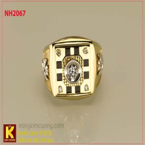 Nhẫn nam ổ kim cương nhân tạo 10k korea NH2067
