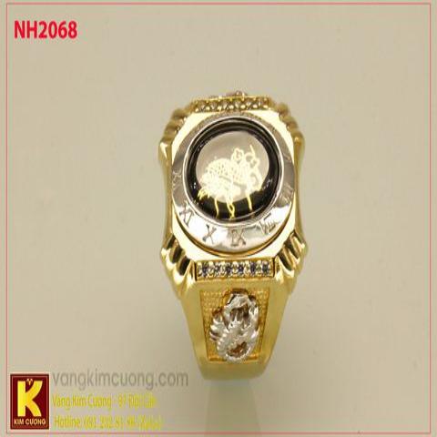 Nhẫn nam ổ kim cương nhân tạo 10k korea NH2068