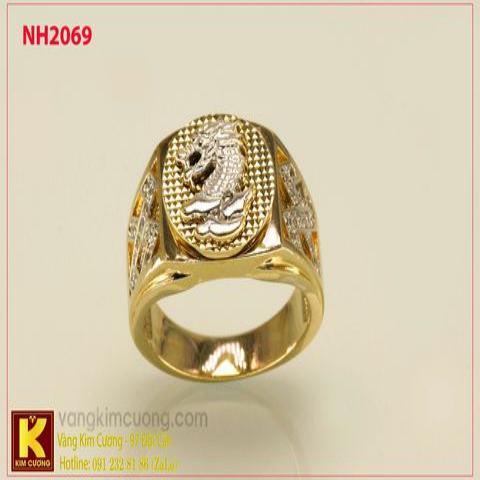 Nhẫn nam ổ kim cương nhân tạo 10k korea NH2069