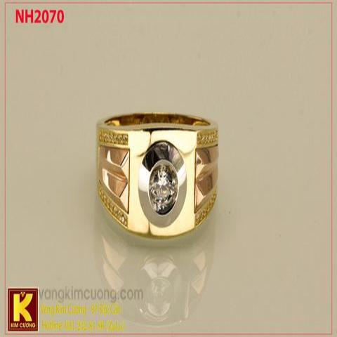 Nhẫn nam ổ kim cương nhân tạo 10k korea NH2070