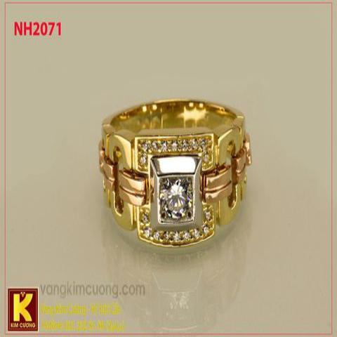 Nhẫn nam ổ kim cương nhân tạo 10k korea NH2071