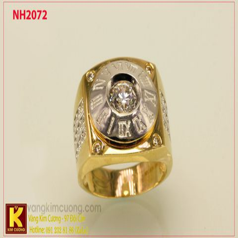 Nhẫn nam ổ kim cương nhân tạo 10k korea NH2072
